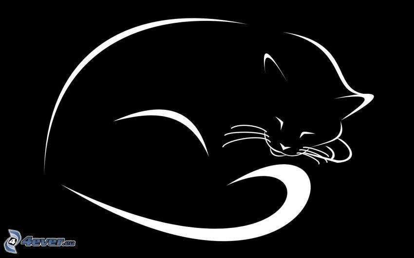 tecknad katt, svart katt