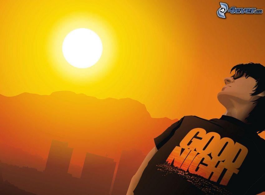 tecknad kille, solnedgång