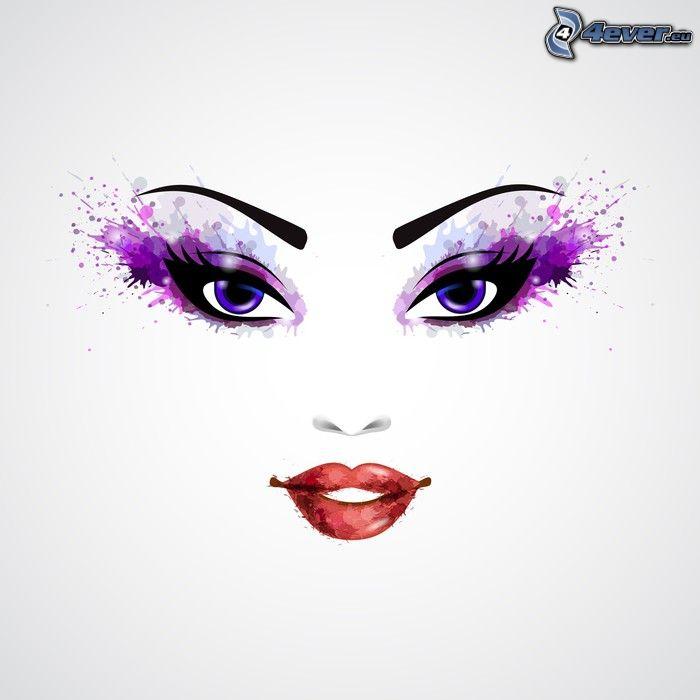 tecknad kvinna, ansikte, blå ögon, röda läppar
