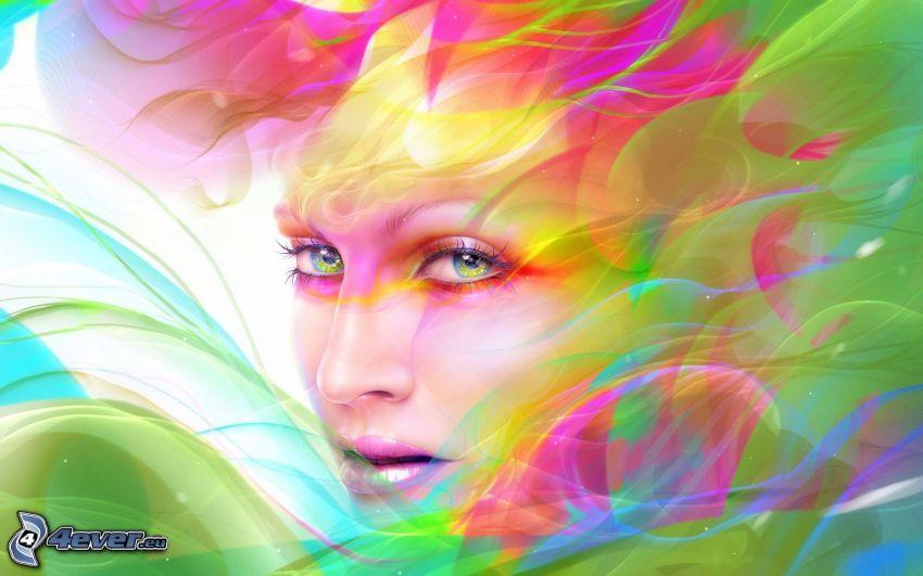 tecknad kvinna, färggrannt ansikte