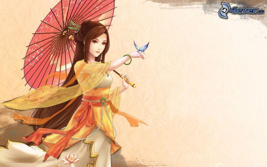 tecknad kvinna, fjäril, parasoll