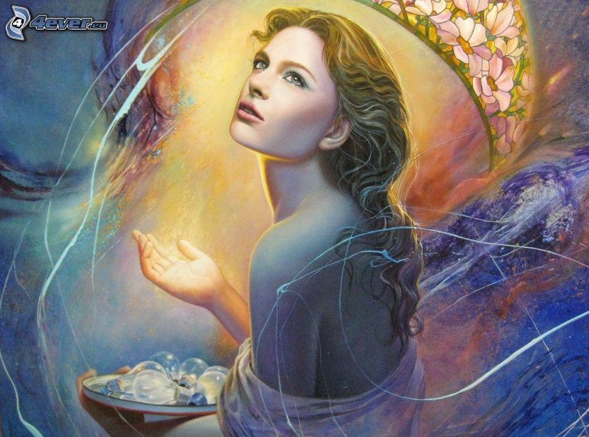 tecknad kvinna, glödlampor