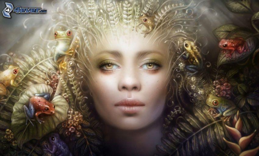 tecknad kvinna, grodor
