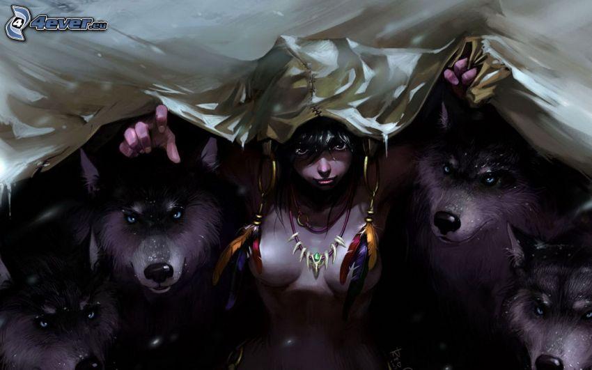 tecknad kvinna, hundar, Siberian Husky