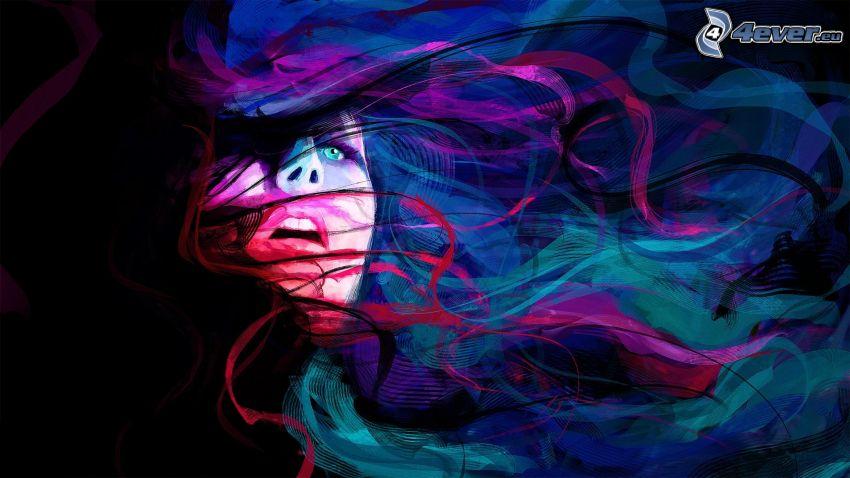 tecknad kvinna, läppar, blå ögon, färggranna linjer