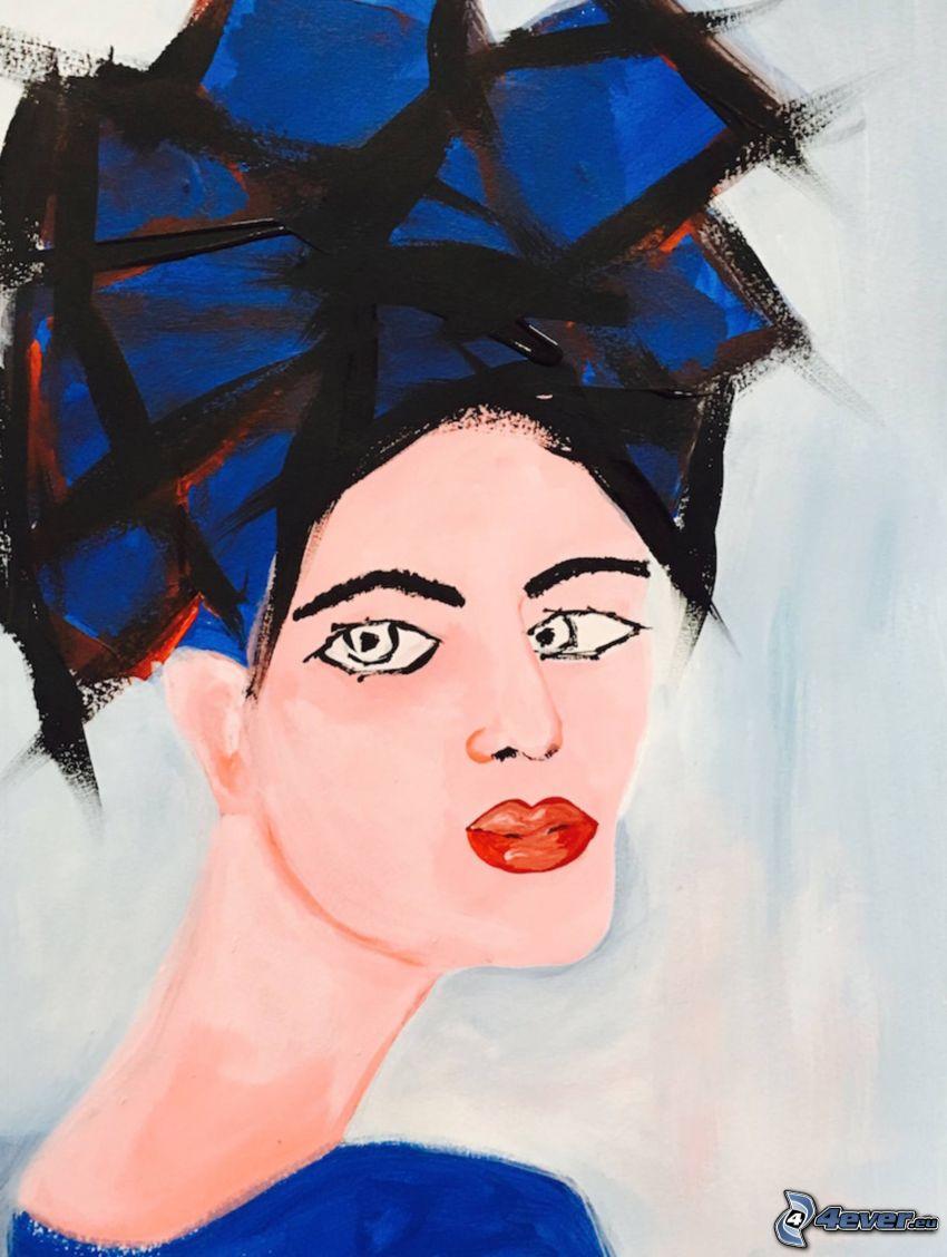 tecknad kvinna, läppar, ögon