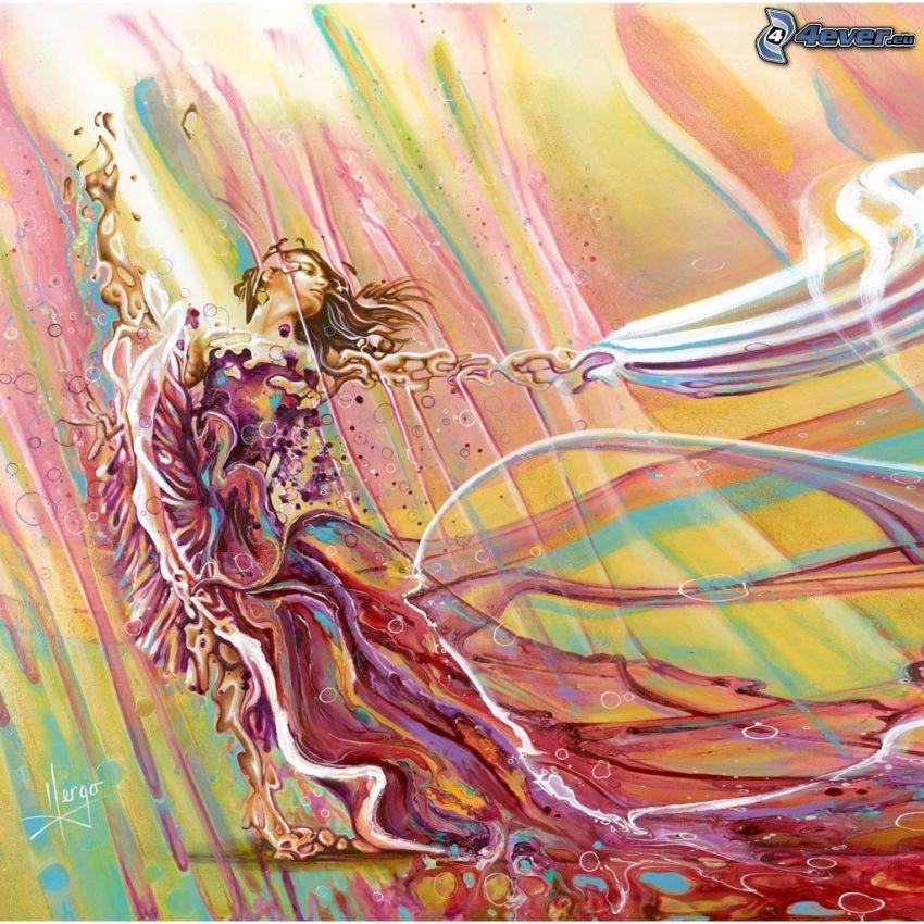 tecknad kvinna, lila klänning, färgstark bakgrund