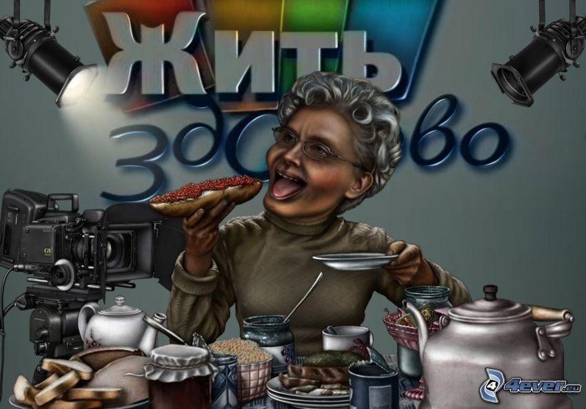 tecknad kvinna, mat