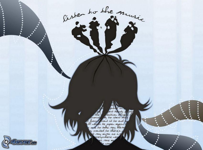 tecknad kvinna, musiker, music