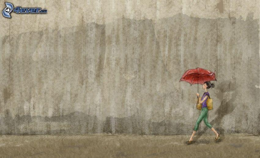 tecknad kvinna, paraply