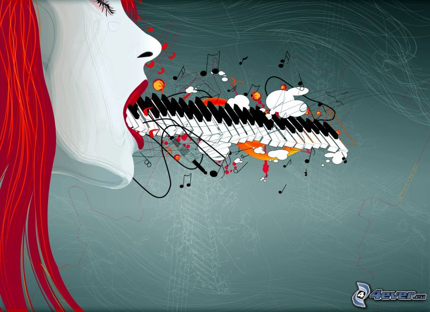 tecknad kvinna, piano
