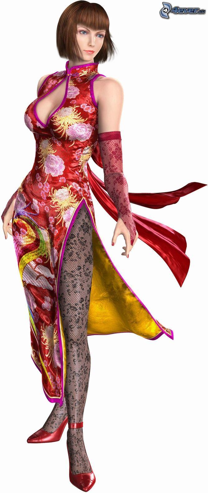 tecknad kvinna, röd klänning