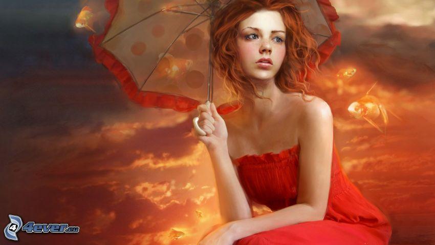 tecknad kvinna, rödhårig