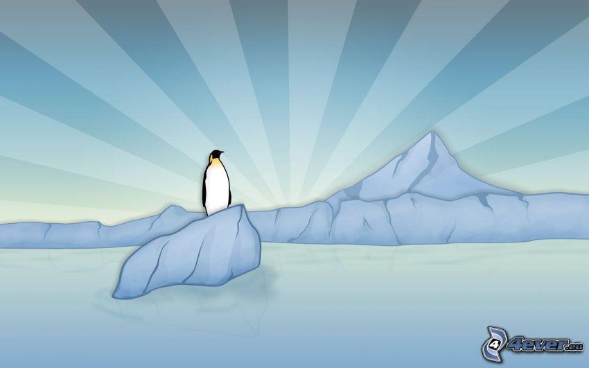 tecknad pingvin, glaciär