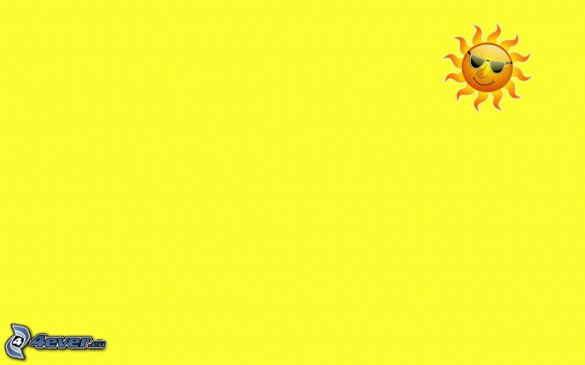 tecknad sol, gul bakgrund