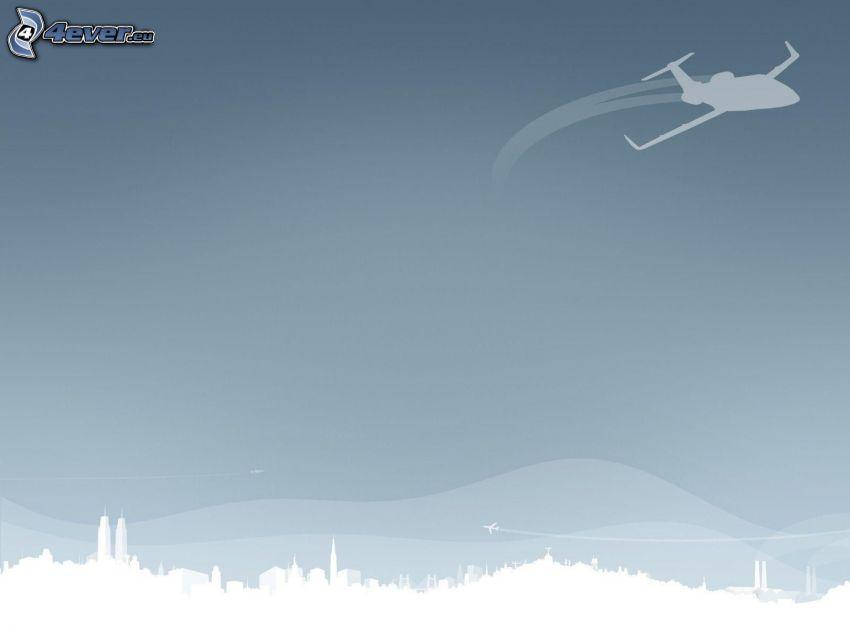 tecknad stad, privat jetplan