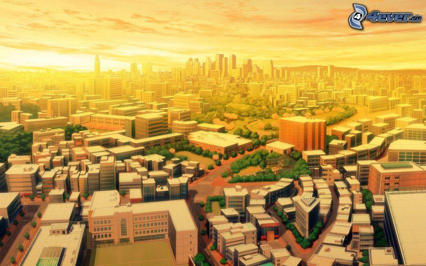 tecknad stad