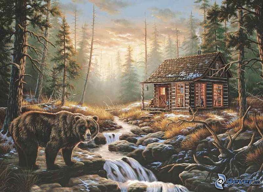 tecknad stuga, skog, björn, flod, bäck