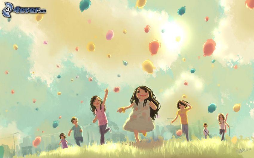 tecknade barn, ballonger