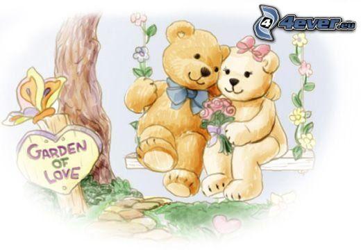 tecknade björnar, par, kram, bänk