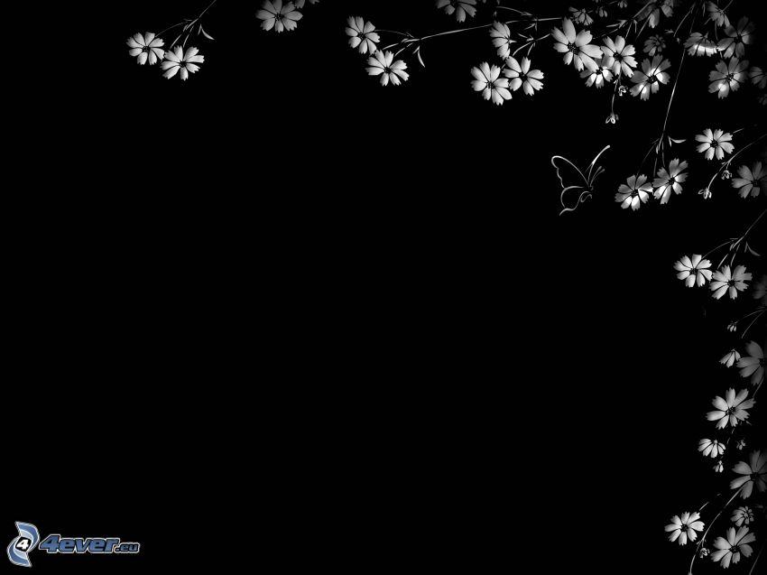 tecknade blommor, fjäril