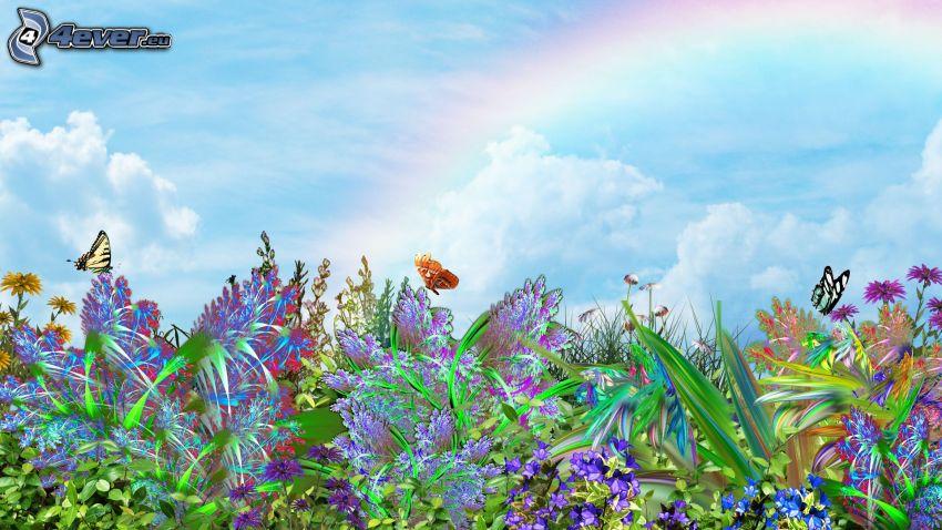 tecknade blommor, fjärilar, regnbåge
