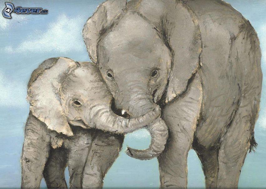 tecknade elefanter