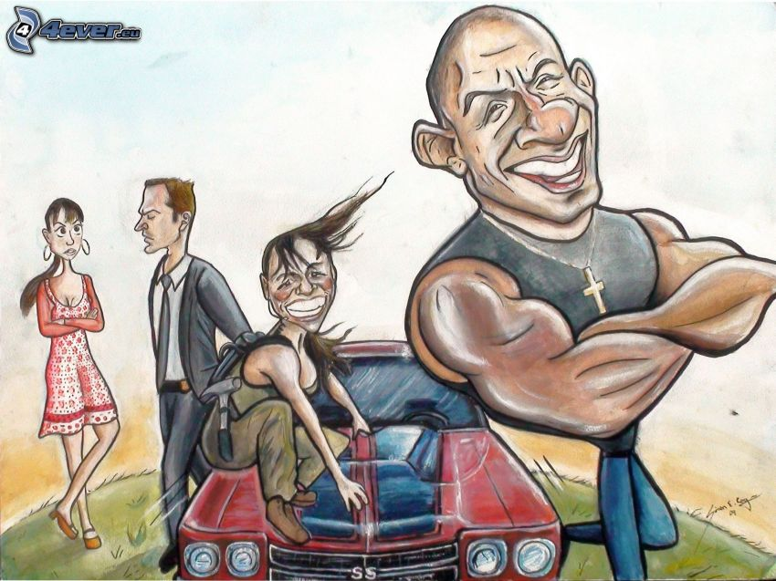 tecknade figurer, Vin Diesel, krikatur, tecknad bil