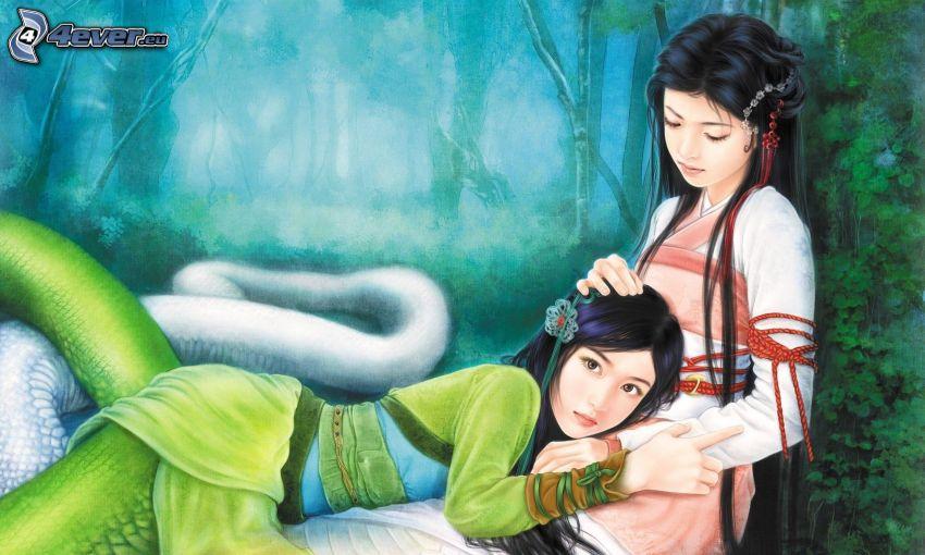 tecknade kvinnor, asiat