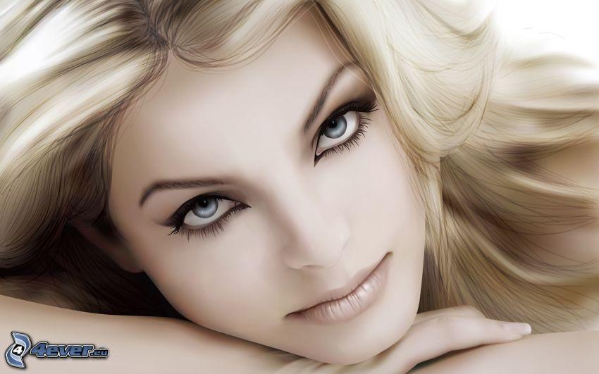 tecknat ansikte, vacker kvinnas ansikte