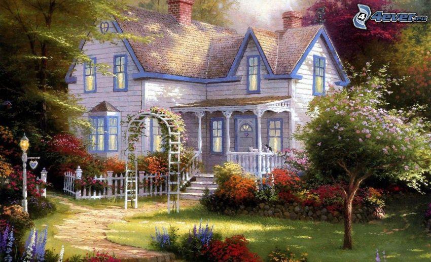 tecknat hus