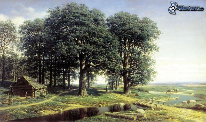 tecknat landskap, bäck, träd, trähus