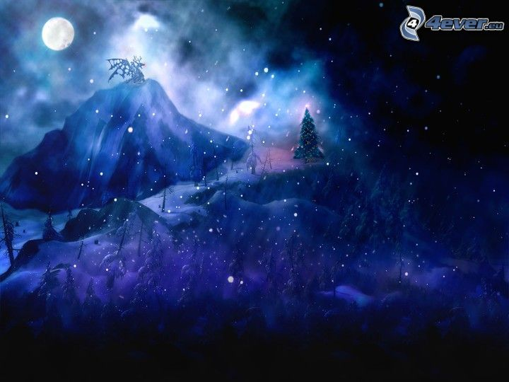 tecknat landskap, natt, snöfall