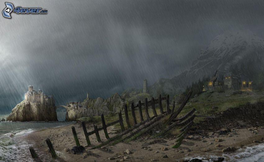 tecknat landskap, regn, slott