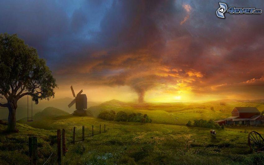 tecknat landskap, väderkvarn, virvel, hus