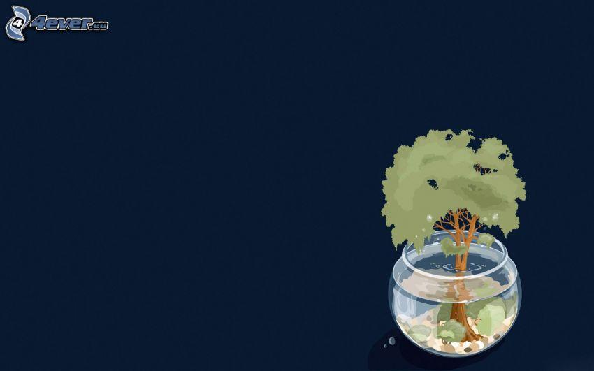 tecknat träd, akvarium