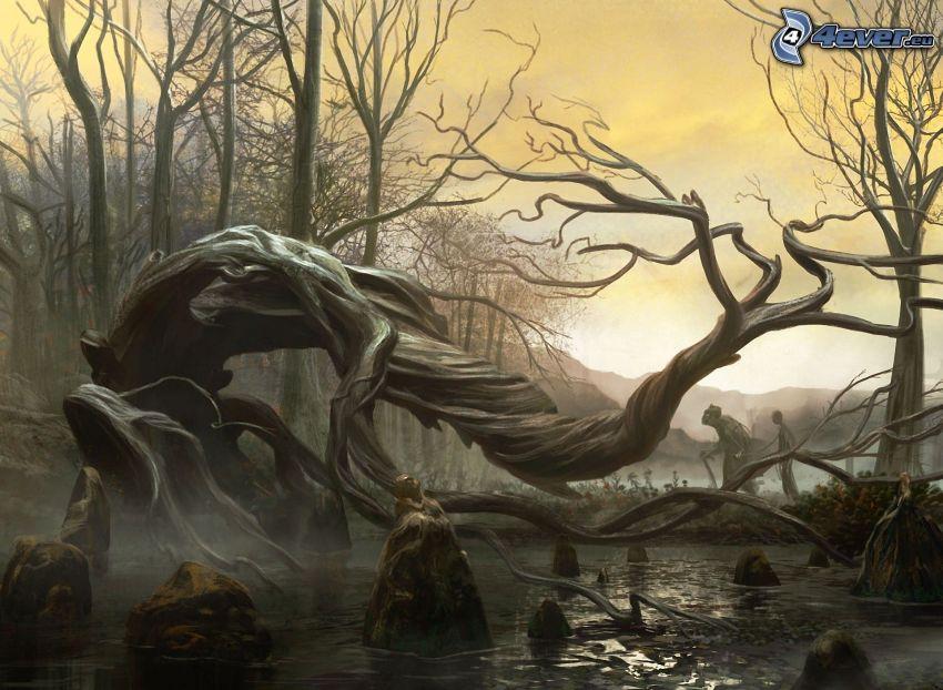 tecknat träd, bäck