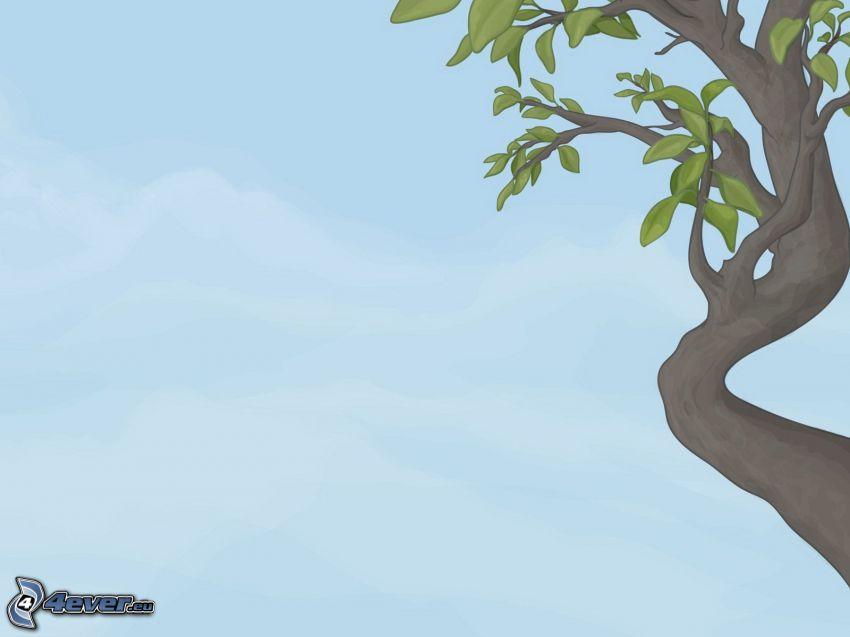 tecknat träd, blå bakgrund