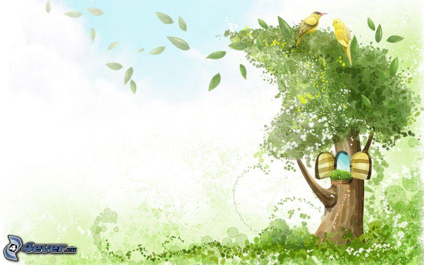 tecknat träd, bostad, fåglar