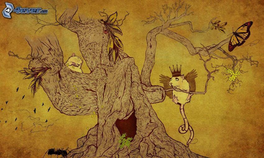 tecknat träd, djur