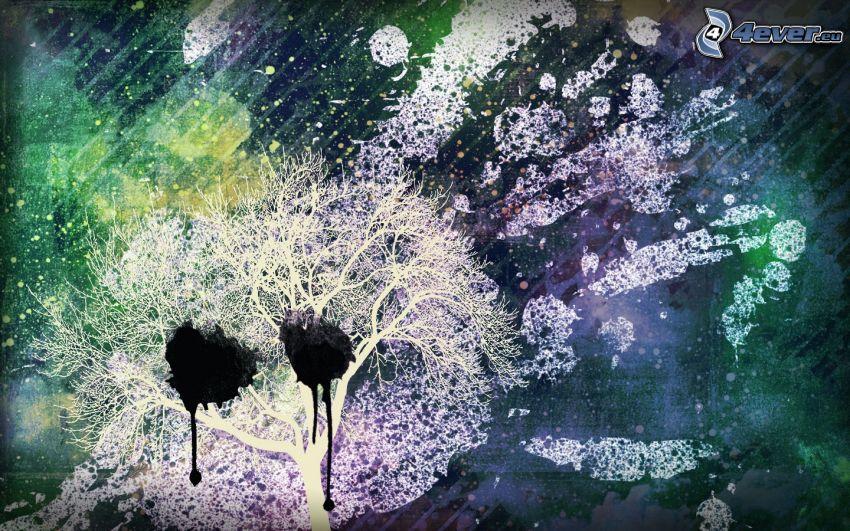 tecknat träd, fläckar