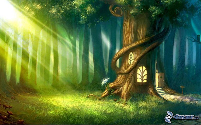 tecknat träd, hus, solstrålar i skog