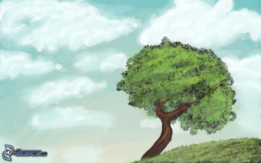 tecknat träd, moln