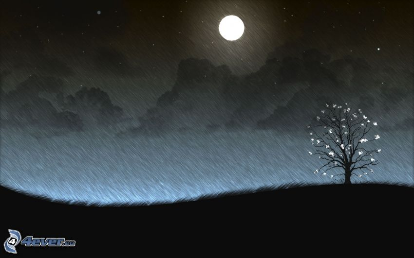 tecknat träd, natt, måne, fullmåne