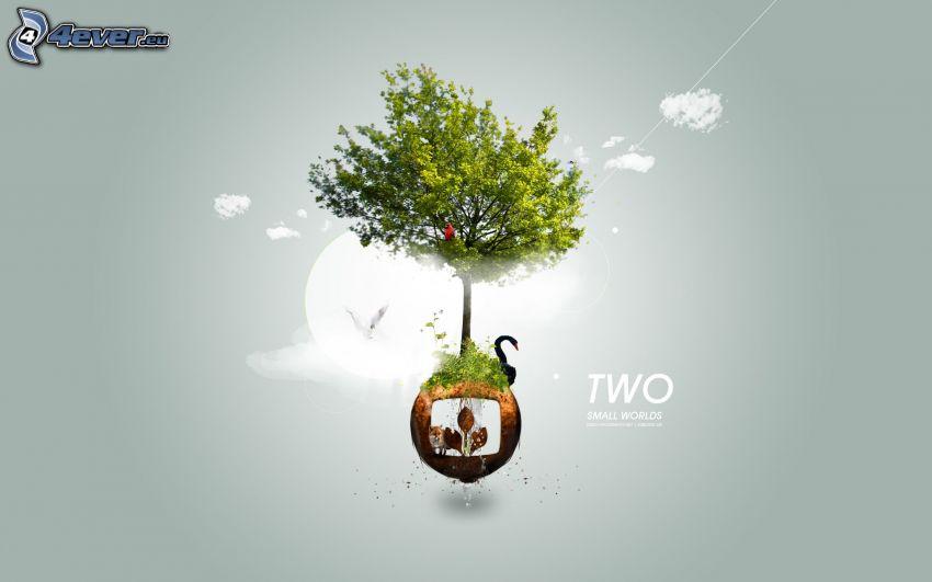 tecknat träd, svart svan