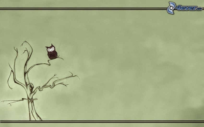 tecknat träd, tecknad uggla