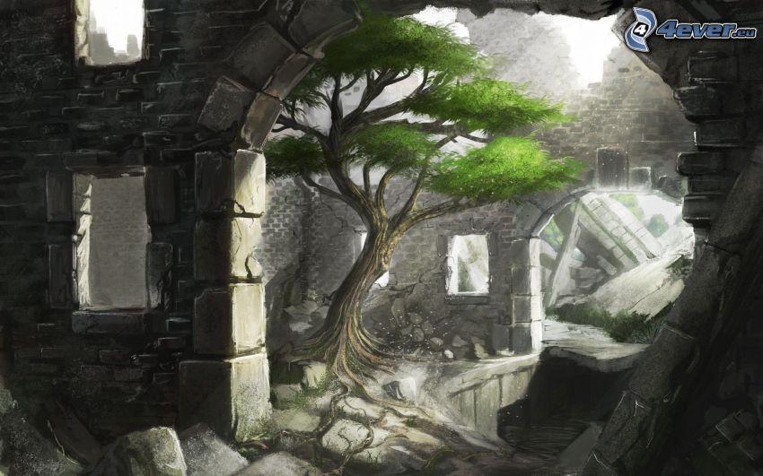 tecknat träd, vägg