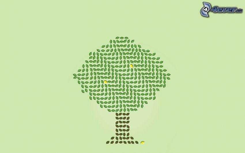 tecknat träd