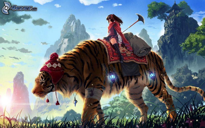tiger, tjej, berg