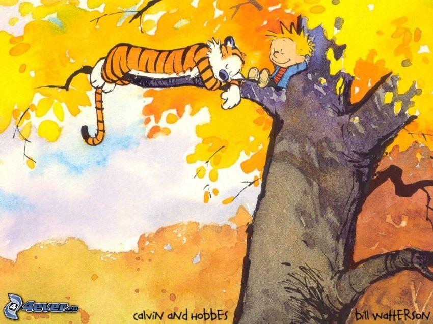 tiger och pojke, tecknat träd, gult träd